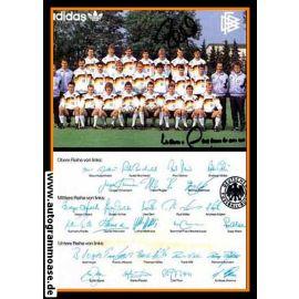 Mannschaftskarte Fussball   DFB   1992 Adidas + 2 AG (Beckenbauer + Pflügler)