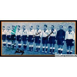 Mannschaftsfoto Fussball   DFB   1955 + 4 AG (Biesinger, Eckel, Röhrig, Waldner) Norwegen