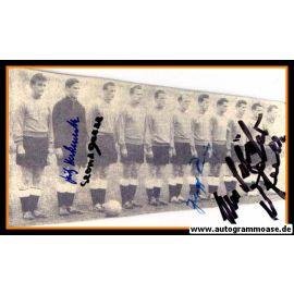 Mannschaftsfoto Fussball   DFB   1956 + 5 AG (Eckel, Herkenrath, Röhrig, Schäfer, Seeler) Niederlande