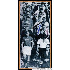 Mannschaftsfoto Fussball   DFB   1956 + 4 AG (Biesinger, Eckel, Erhardt, Herkenrath) Einlauf UdSSR