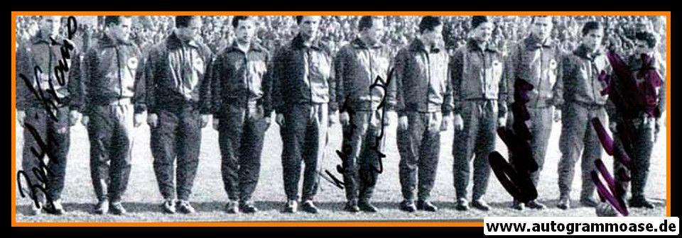Mannschaftsfoto Fussball | DFB | 1957 + 4 AG (Erhardt, Kraus, Schäfer, Wewers) Österreich