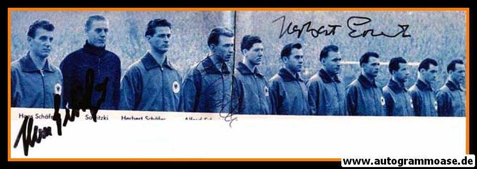 Mannschaftsfoto Fussball   DFB   1957 + 3 AG (Erhardt, Schäfer, Schmidt) Schweden