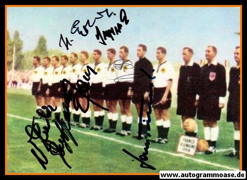 Mannschaftsfoto Fussball | DFB | 1958 + 6 AG (Erhardt, Haller, Schmidt, Seeler, Stollenwerk, Tilkowski) Frankreich