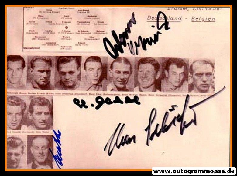 Mannschaftsfoto Fussball | DFB | 1958 + 5 AG (Eckel, Sawitzki, Schäfer, Szymaniak, Wewers) Belgien