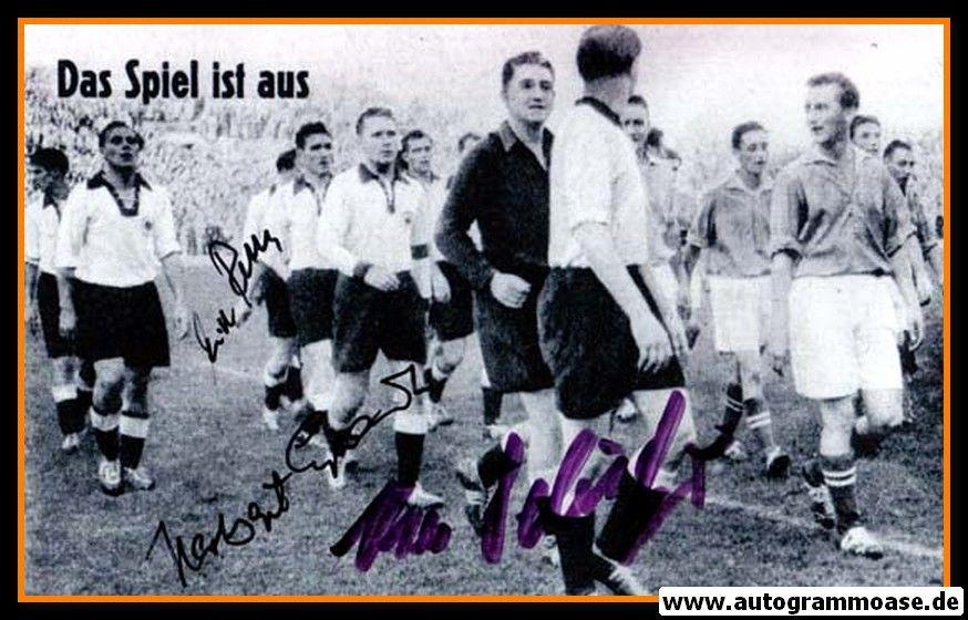 Autogramme Fussball   DFB   1953 Foto   3 AG (Erhardt, Retter, Schäfer) Spielende Saarland