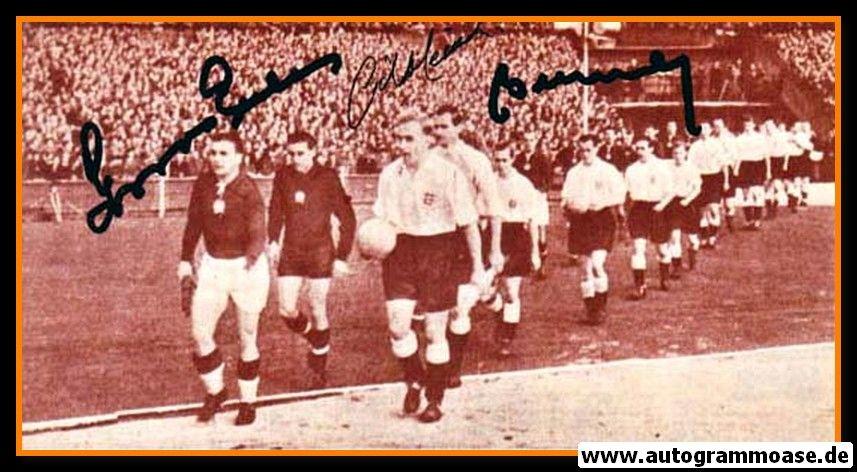 Autogramme Fussball   England + Ungarn   1953 Foto   4 AG (Buzanszky, Grosics, Merrick, Robb)