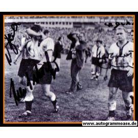 Autogramme Fussball | DFB | 1958 WM Foto | 4 AG (Eckel, Erhardt, Schäfer, Seeler) Abpfiff