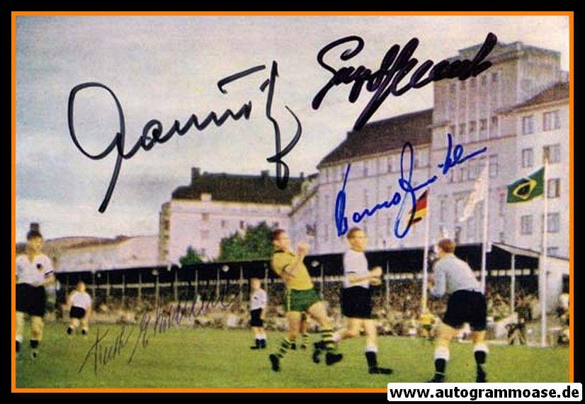 Autogramme Fussball   DFB   1952 OS Foto   4 AG (Ehrmann, Mauritz, Stollenwerk, Zeitler) Brasilien