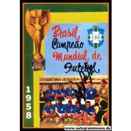 Mannschaftsfoto Fussball   Brasilien   1958 WM + AG Nilton SANTOS
