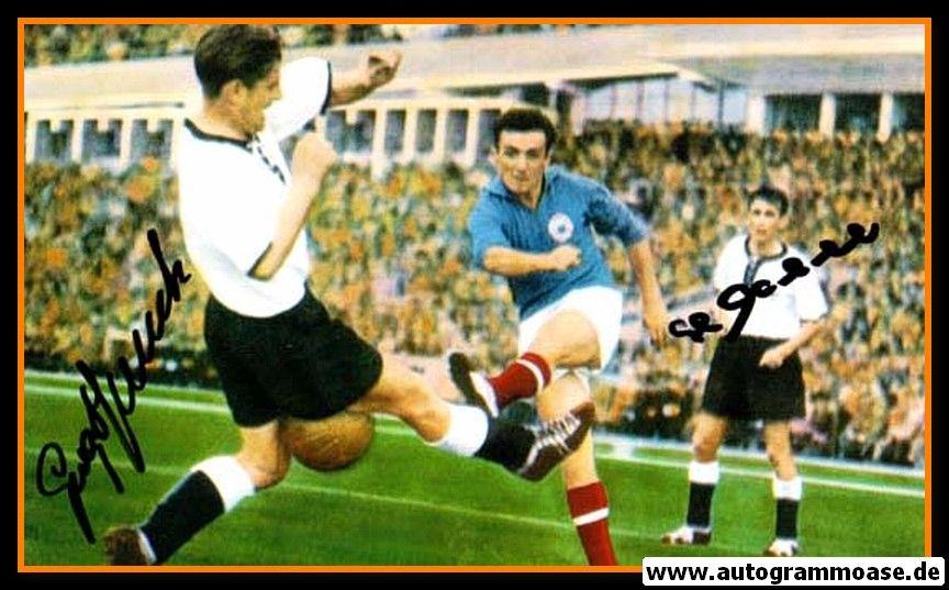 Autogramme Fussball | DFB | 1958 WM Foto | ECKEL + STOLLENWERK (Spielszene Jugoslawien)