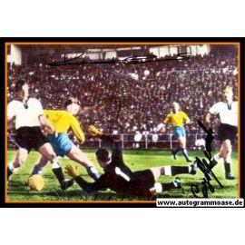 Autogramme Fussball | DFB + Schweden | 1958 WM Foto | 3 AG (Hamrin, Herkenrath, Stollenwerk) Spielszene Color