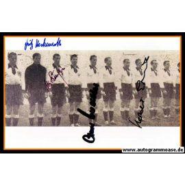 Mannschaftsfoto Fussball | DFB | 1954 + 4 AG (Biesinger, Erhardt, Herkenrath, O. Walter) Belgien