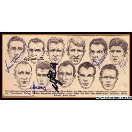 Autogramme Fussball   DFB   1950er   COLLAGE + 7 AG (Spiel Nordirland)