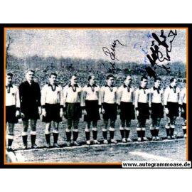 Mannschaftsfoto Fussball   DFB   1954 + 4 AG (Erhardt, Retter, Röhrig, Schäfer) Saarland
