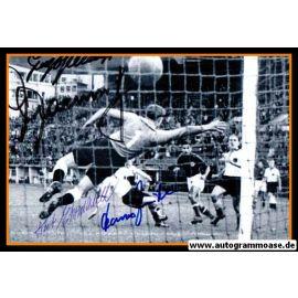 Autogramme Fussball | DFB | 1952 OS Foto | 4 AG (Ehrmann, Mauritz, Stollenwerk, Zeitler) Jugoslawien