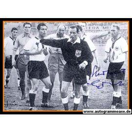 Autogramme Fussball   DFB + Schweden   1958 WM   ERHARDT + HAMRIN (Spielszene SW)