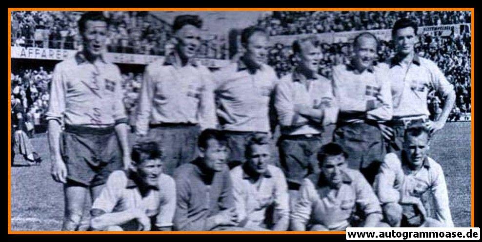 Mannschaftsfoto Fussball   Schweden   1958 WM + AG Nils LIEDHOLM
