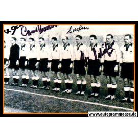 Mannschaftsfoto Fussball | DFB | 1953 + 4 AG (Eckel, Retter, Röhrig, O. Walter) Österreich