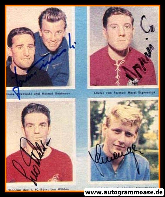 Autogramme Fussball   DFB   1950er Foto   4 AG (Schnellinger, Szymaniak, Tilkowski, Wilden) Collage Color