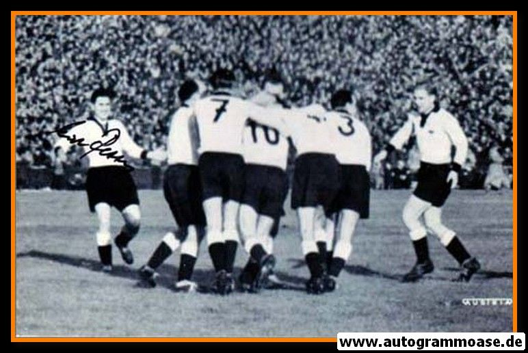 Autogramm Fussball   DFB   1952 Foto   Erich RETTER (Jubel Jugoslawien)