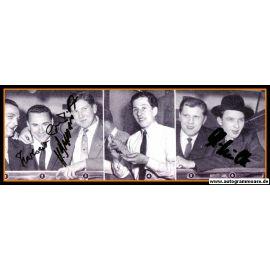 Autogramme Fussball   DFB   1950er Foto   3 AG (Erhardt, Schmidt, Szymaniak) Collage SW