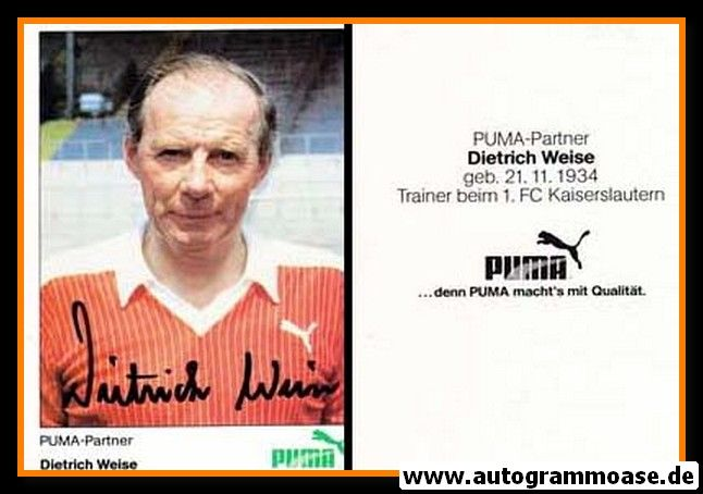 Autogramm Fussball   1. FC Kaiserslautern   1980er Puma   Dietrich WEISE (Portrait Color)