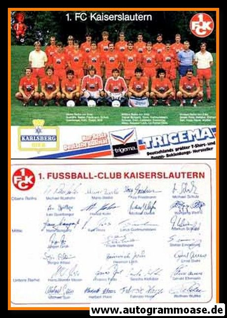 Mannschaftskarte Fussball | 1. FC Kaiserslautern | 1987 (2)