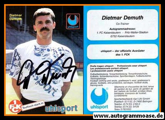 Autogramm Fussball | 1. FC Kaiserslautern | 1994 Uhlsport | Dietmar DEMUTH
