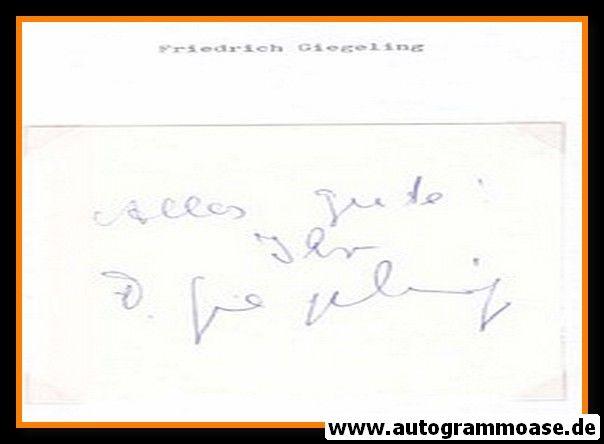 Autograph Fussball | Friedrich GIEGELING (DFB Amateure 1960er)
