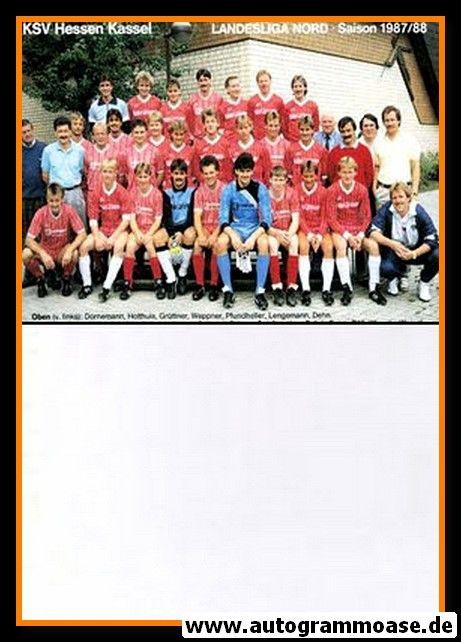 Mannschaftskarte Fussball   KSV Hessen Kassel   1987