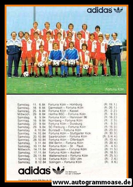 Mannschaftskarte Fussball   Fortuna Köln   1984 Adidas