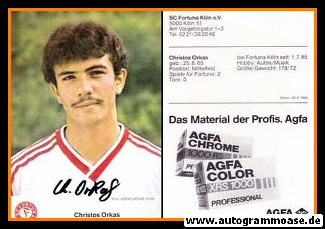 Autogramm Fussball   Fortuna Köln   1985   Christos ORKAS