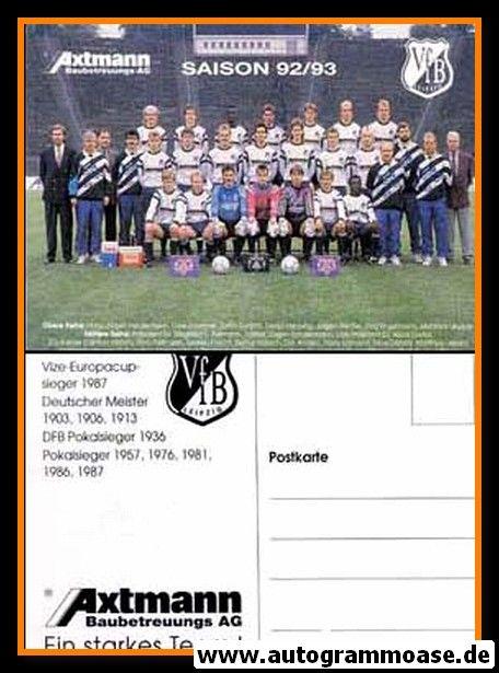 Mannschaftskarte Fussball   VfB Leipzig   1992