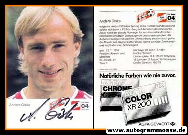 Autogramm Fussball | Bayer Leverkusen | 1984 | Anders GISKE