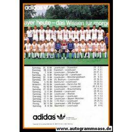 Mannschaftskarte Fussball | Bayer Leverkusen | 1984 Adidas