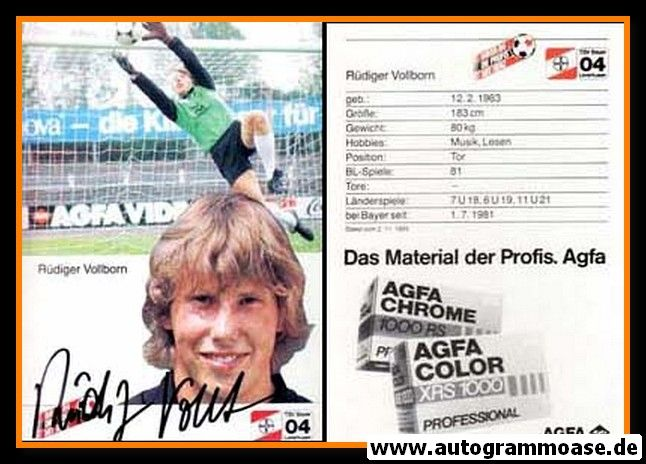 Autogramm Fussball   Bayer Leverkusen   1985   Rüdiger VOLLBORN (2)