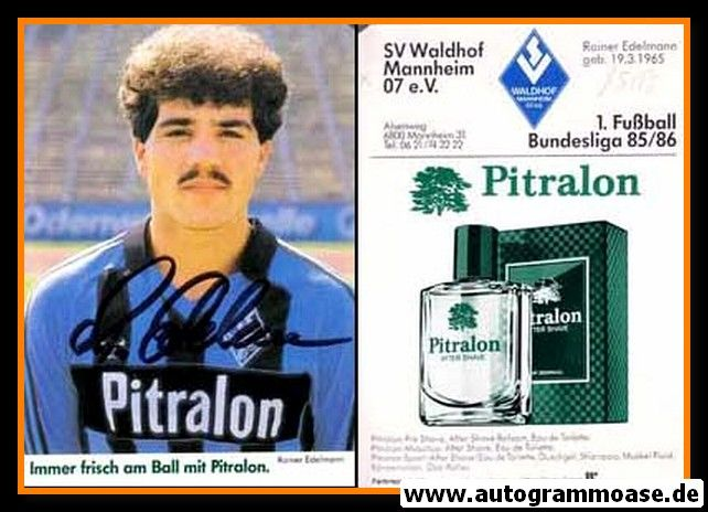 Autogramm Fussball | SV Waldhof Mannheim | 1985 | Rainer EDELMANN