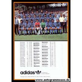 Mannschaftskarte Fussball   SV Waldhof Mannheim   1985 Adidas