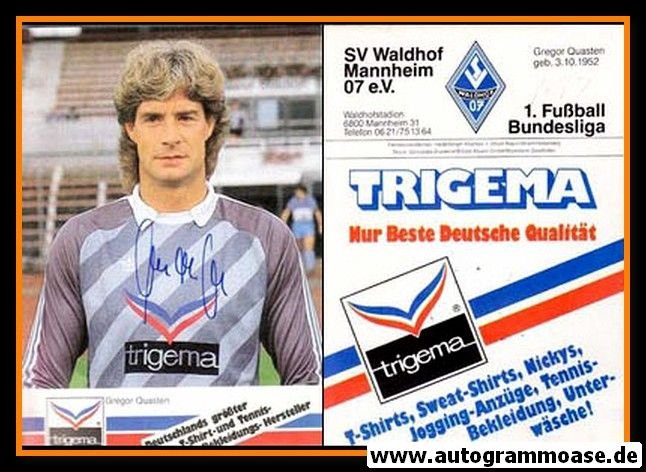 Autogramm Fussball   SV Waldhof Mannheim   1986   Gregor QUASTEN