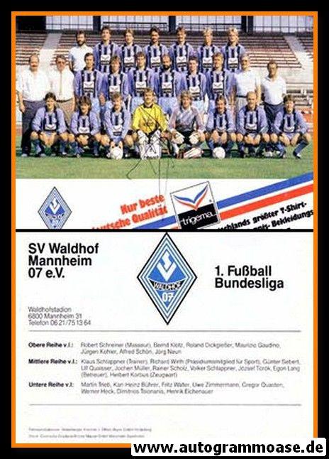 Mannschaftskarte Fussball | SV Waldhof Mannheim | 1986 + AG Uwe ZIMMERMANN