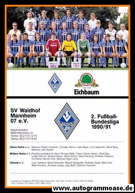 Mannschaftskarte Fussball   SV Waldhof Mannheim   1990