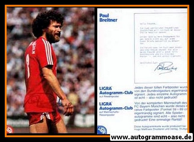 Autogramm Fussball | FC Bayern München | 1980er | Paul BREITNER (Ligra)