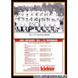 Mannschaftskarte Fussball   1. FC Nürnberg   1986 Kicker