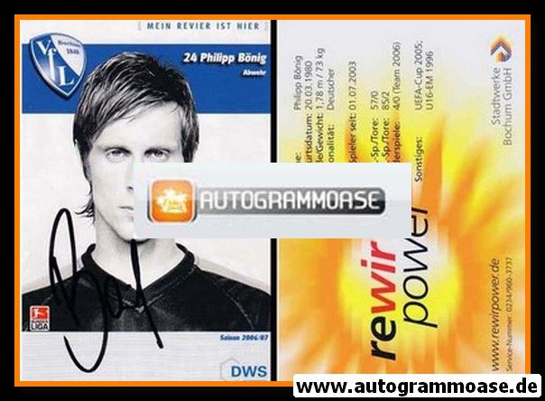 Autogramm Fussball | VfL Bochum | 2006 | Philipp BÖNIG