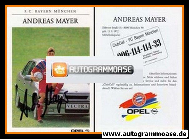 Autogramm Fussball | FC Bayern München | 1991 | Andreas MAYER