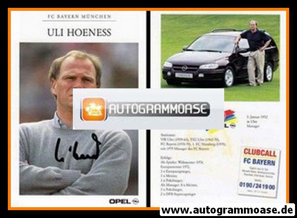 Autogramm Fussball | FC Bayern München | 1995 | Uli HOENESS